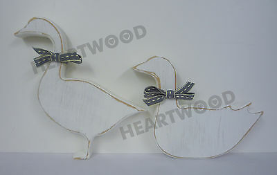 GOOSE PAIR SHABBY CHIC IN MDF (18mm thick)/GEESE/WOODEN CRAFT SHAPE/DECORATION