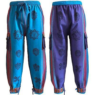 Sportivo Bhutan Stile Polsino Cravatta Pantaloni Unisex Hippy Boho Blocco Stampa Turchese & Viola-mostra Il Titolo Originale