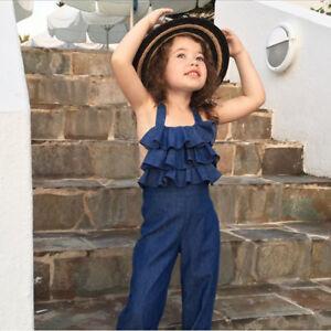 Toddler-Kids-Baby-Girl-Ruffles-Sleeveless-Romper-Denim-Overalls-Jumpsuit-Outfits