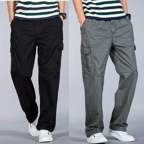Hommes Coupe Ample Pantalon cargo straight Relaxed Summer Casual Pantalon Taille 34-46