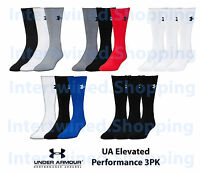 Under Armour Men Elevated Performance Crew Socks 3 Pair Heat Gear All Colors