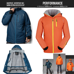New-Hooded-Mens-Ski-Snowboard-Padded-Quilted-Jacket-Coats-Parka-Skiing-Clothing