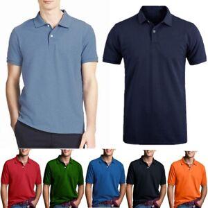 Men-Polo-Shirt-Cotton-T-Shirt-Jersey-Golf-Sport-Short-Sleeve-Casual-Plain-Tee