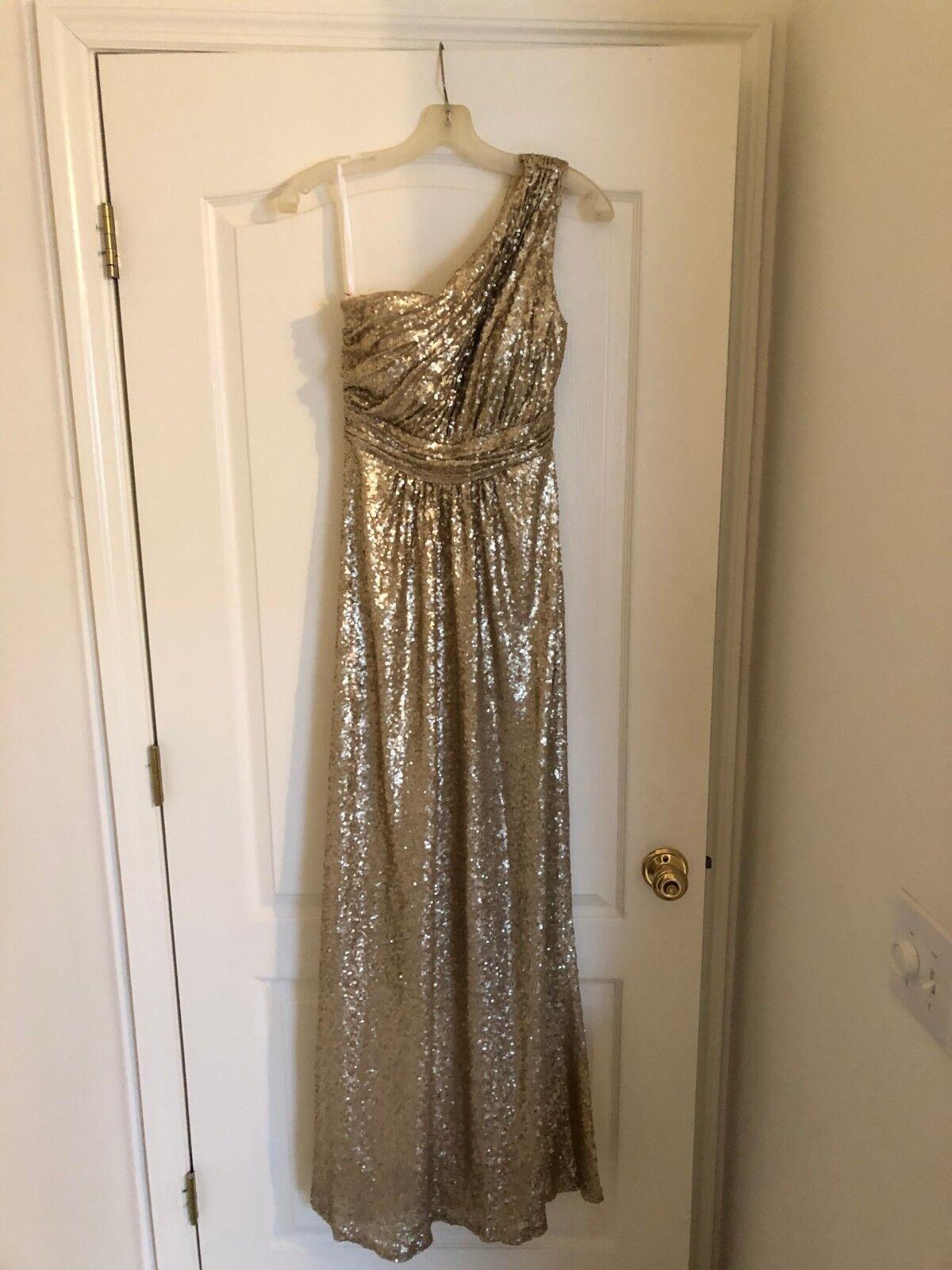Revelry Bridesmaid Dress- Starla Ivory gold Sequined Maxi Maxi Maxi Dress, Size 4 Regular f3baa0