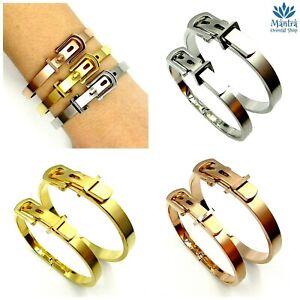 Bracciale da uomo donna rigido regolabile in acciaio inox argento braccialetto