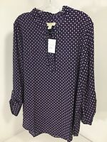 Appleseed's Women's Geo Print Tie Neck Blouse Large Navy/lavender