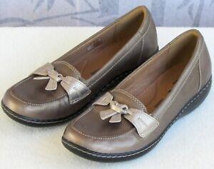 8-N-Clarks-Ashland-Bubble-Women-Pewter-Metallic-Leather-Slip-On-Loafer-Shoe