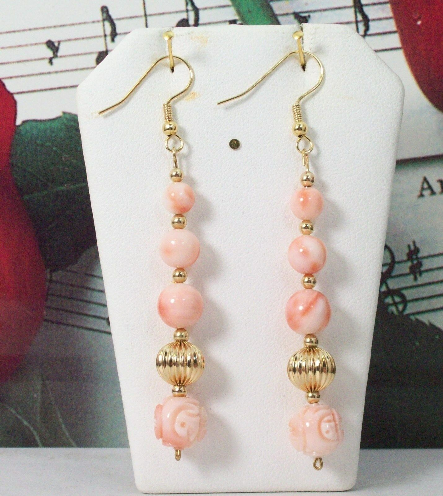 Carved Coral With 14K gold Filled Earrings. Natural Pacific Coral. CORE007