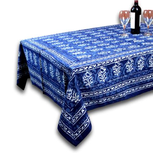 environ 152.40 cm Dabu bloc en coton imprimé géométrique floral Nappe Carré Bleu 60 x 60 in