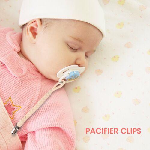 Paquete De 4 clips de maniquí Bebé Dentición Chupete Chupete clip cadena titular Correa Unisex