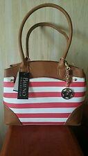 Woman's Bueno Handbag Coral and White Stripe Gold-tone Hardware NWT
