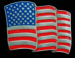 Amazing Stars and Stripes Belt Buckle USA Flag Cadillac Trucker Colorful New