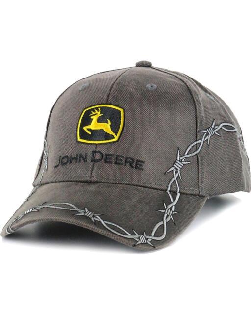 John Deere Oilskin Trademark Hat Cap JD Charcoal Grey Silver Barbed Wire c80c80333941