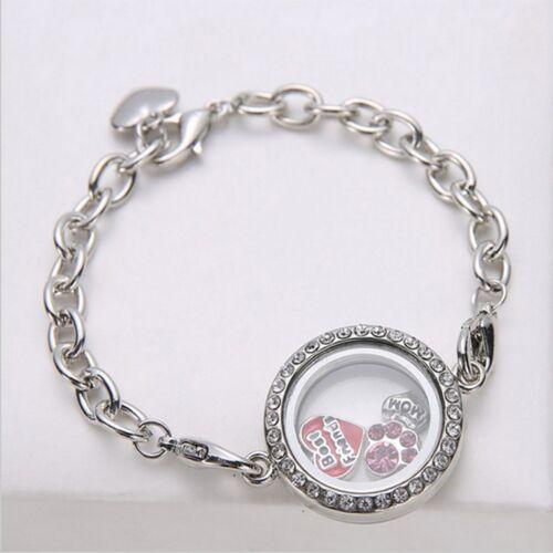 Magnétique Cristal Mémoire vivante Médaillon Bracelet Flottant Charms 4 Couleurs Bracelet