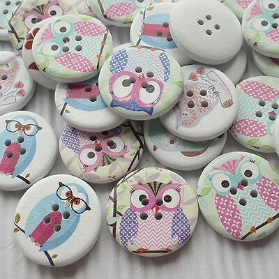 E620 Cute Owl Decoration Wood Buttons 30mm Sewing Mix Lots 10/50/100/500pcs