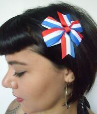 Pince clip cheveux noeud drapeau France Français French bleu blanc rouge pinup