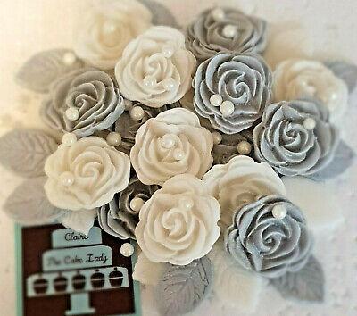 Handmade 100 Edible Wedding Roses Flowers Leaves Pearls Cupcake Cake Toppers Ebay
