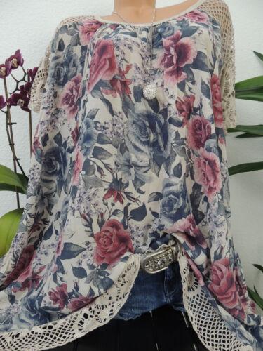 Damen Bluse Größe 46 48 50 52 54 Übergröße Blumen Mu Tunika Blusen T Shirt 123A