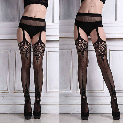 Sexy Ladies net Lace Top Garter Belt Thigh-Highs Stocking Pantyhose Lingerie HOT