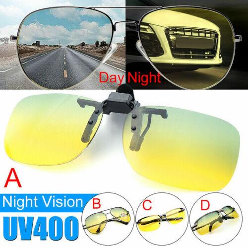Night Vision Anti Glare Polarized Clip On Driving Glasses Sunglasses UV400 Lens