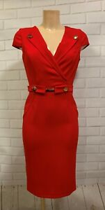 Red-Plunge-V-Neck-Gold-Button-Wiggle-Pencil-Smart-Office-Shift-Dress-Size-8-18