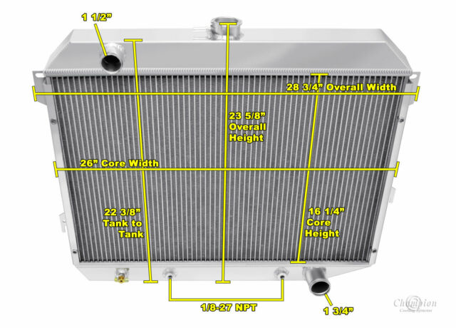 "26/"" Wide Core 1968 1969 1970 1971-1974 Plymouth Fury 4 Row DR Radiator"