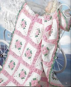 Crochet PATTERN- Crochet rose baby blanket in DK wool 7426806858943 | eBay