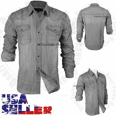 Men's Button Down Casual Denim Wash Cotton Shirts Long Sleeve Fit Tops S-XL Gray