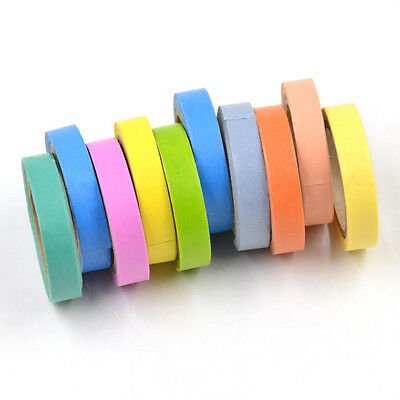 10x Washi Tape Rainbow Sticky Paper Masking Adhesive Tape Scrapbooking DIY Decor