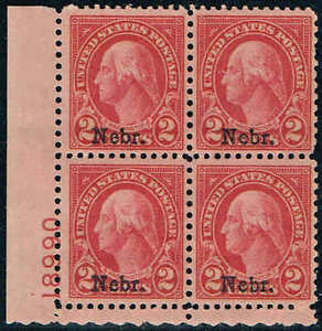 #671 BOTTOM LEFT PB#18990 1929 2c NEBRASKA OVERPRINT ISSUE MINT-OG/LH--SUPERB