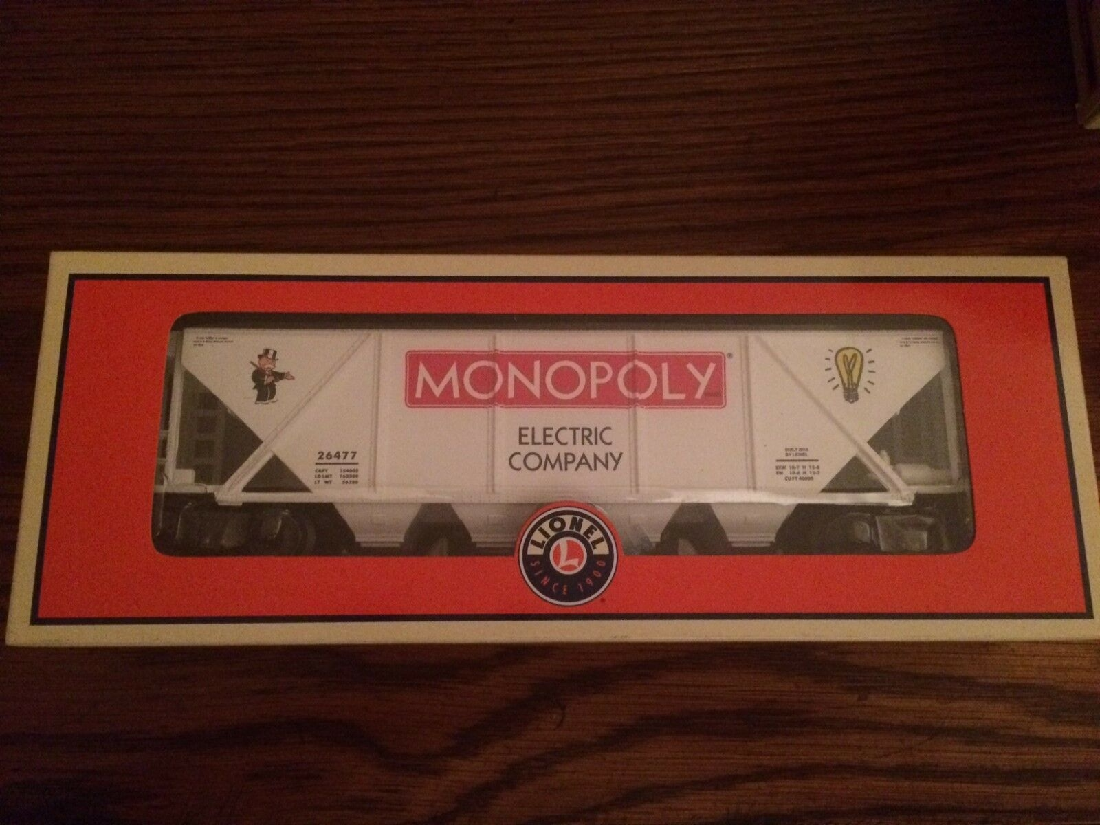 Lionel 26477 Monopoly  Electric Company  Hopper Car w  Coal Load New in Box
