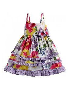 Baby-Girls-BLUBERI-BOULEVARD-Floral-Gingham-Poplin-A-line-Sun-Dress-18M-24M-New