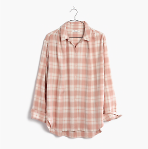 Madewell Shirt Oversized Pink Plaid Flannel Ex-Boyfriend Central Top XS S M L