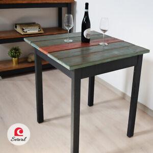 Tavolo Rustico In Puro Legno Massello Di Abete Mod Venere Col Verde Rosso Ebay