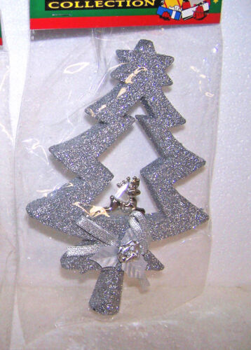 """CHRISTMAS TREE TOPPER FLYING REINDEER 8/"""" SILVER GLITTER HOLIDAY VINTAGE NEW STAR"""