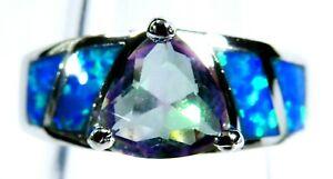 Silver 925 SF Size 9 Ring Blue Lab Fire Opal /& 9*7mm Mystic Topaz /& White Topaz