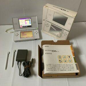 Nintendo-DS-lite-Console-White-Handheld-System-Box-Manual-Stylus-pen-Japan