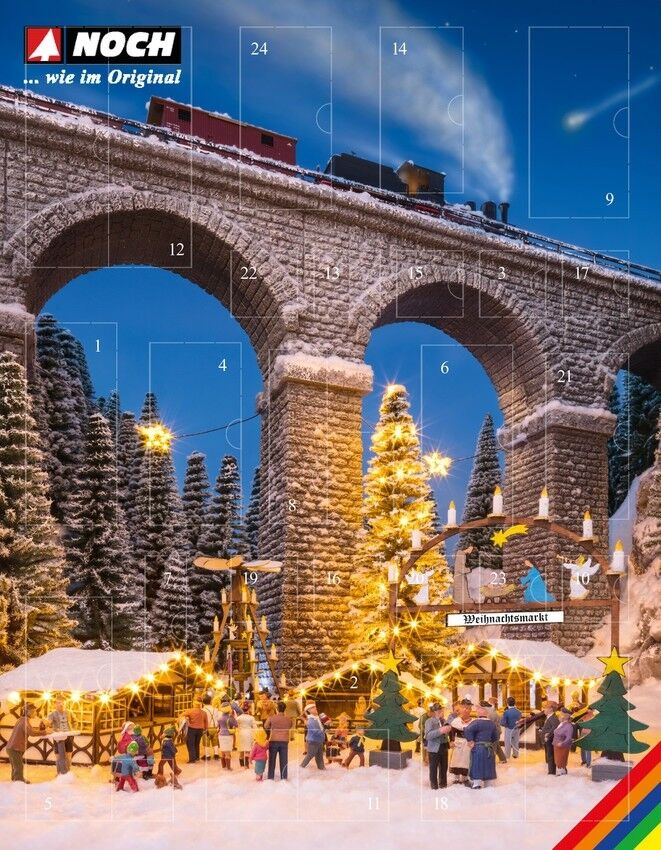 """NOCH 65590 Spur H0 Bastel-Adventskalender """"Weihnachtsmarkt """"Modelleisenbahn"""