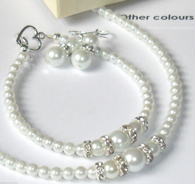 Ivory / white  pearls diamante jewellery necklace set weddings bride prom bridal