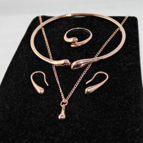 Kette gold rosegold Ring Träne 4tlg Schmuckset Damen Ohrringe Armband