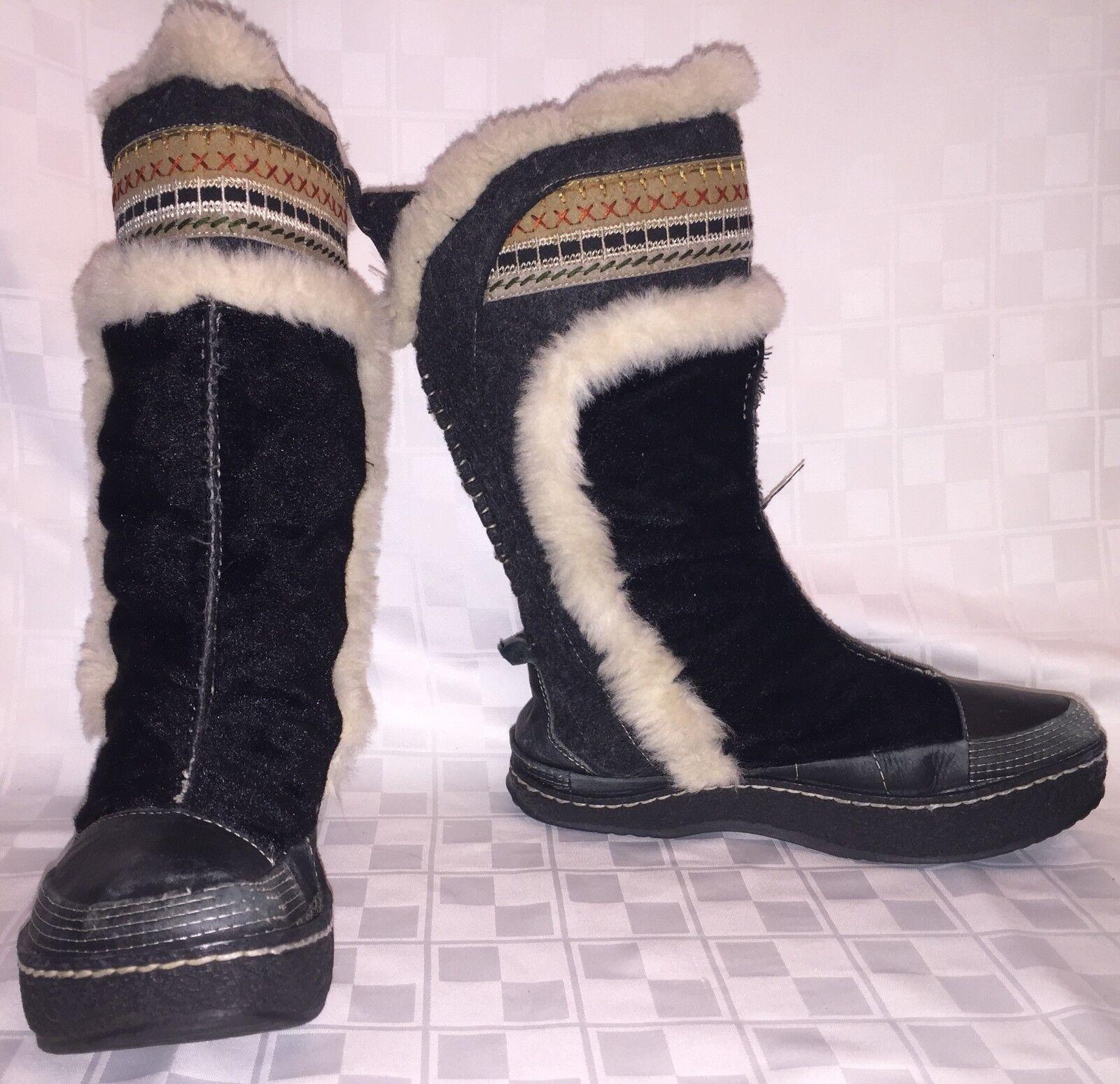 Para mujer B talón negativo Kalso Earth Escarcha Negro botas De Invierno botas de piel