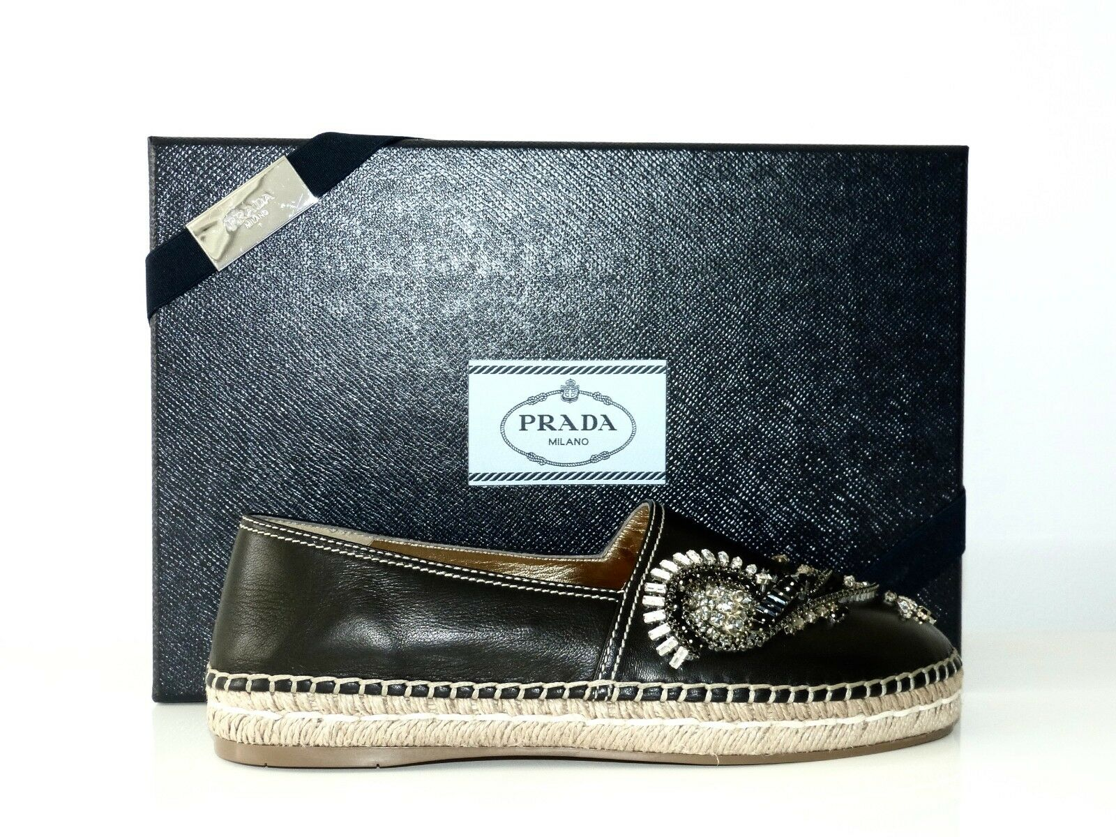 PRADA SCHUHE ESPANDRILLES SCHMUCKSTEINE SHOES NEU/NEW BLACK EU:38   NEU/NEW SHOES f9cb89