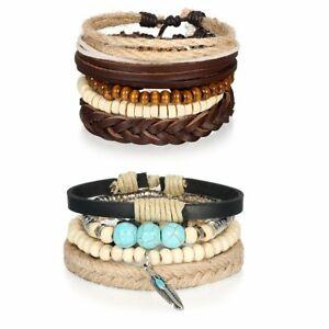 Lots-9pcs-Tribal-Wood-Beaded-Braided-Leather-Bracelet-Wristband-For-Women-Men