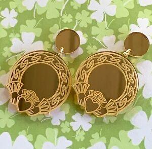 Irish Claddagh Acrylic Earrings in Gold Mirror - Statement Earrings
