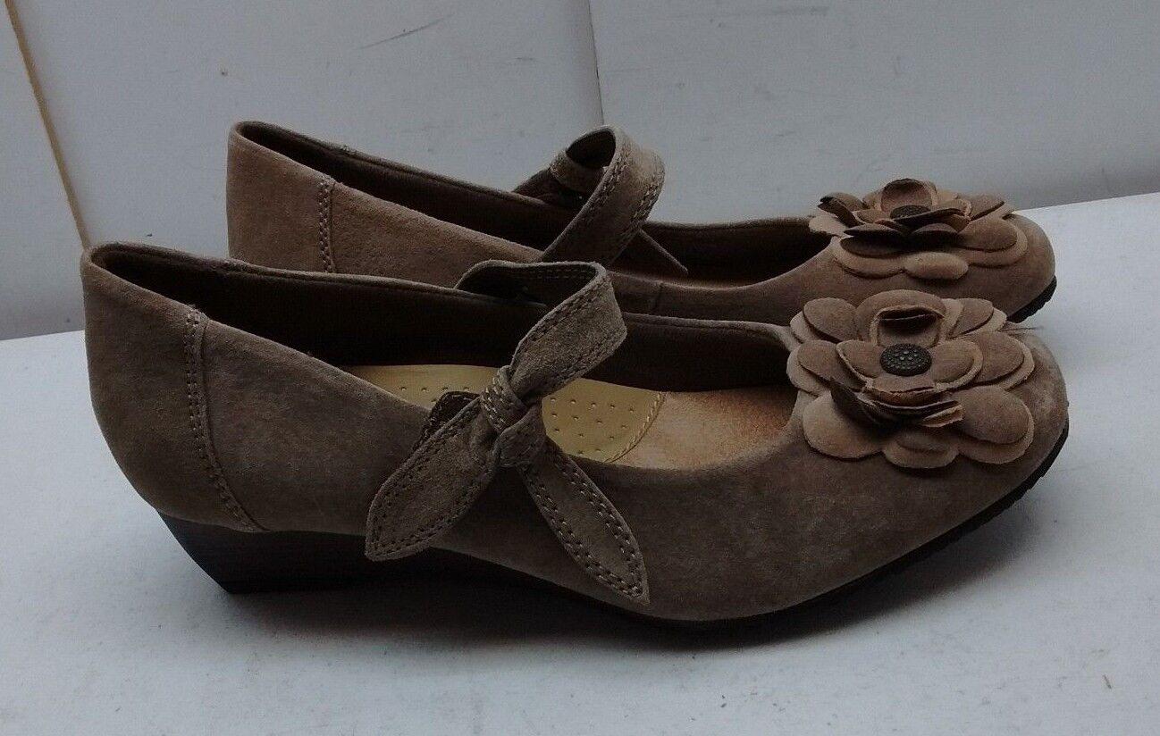 Earth Spirit braun Leather Strap Strap Strap Flower Wedge Mary Jane Casual damen schuhe 8M 40 91918d