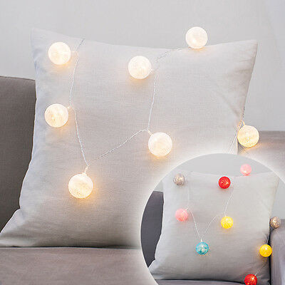 10 White Or Multi Coloured Cotton Ball Battery Operated LED Fairy String Lights