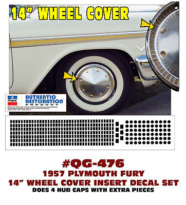"14/"" WHEEL COVER HUB CAP DECAL INSERTS BELVEDERE SAVOY QG-457 1957 PLYMOUTH"