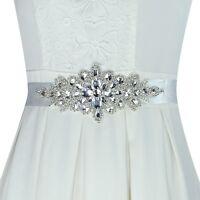 Rhinestone Crystal Bridal Sash Belt with White Satin Ribbon for Wedding dress