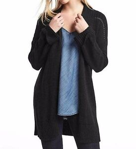 f38bac31128 Image is loading NWT-Gap-Pointelle-open-front-cardigan-True-Black-