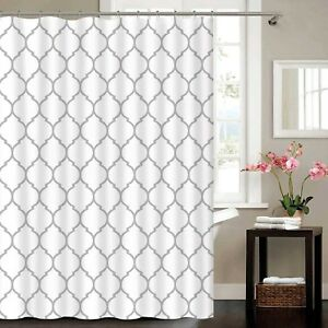 Details About Silver Metallic Sparkle White Moroccan Fabric Polyester Shower Curtain 180 X